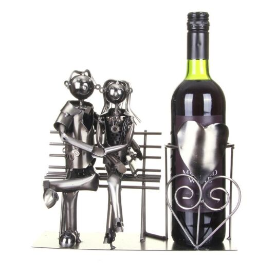 Lucy & Lee Lovers On Bench Wine Bottle Holder