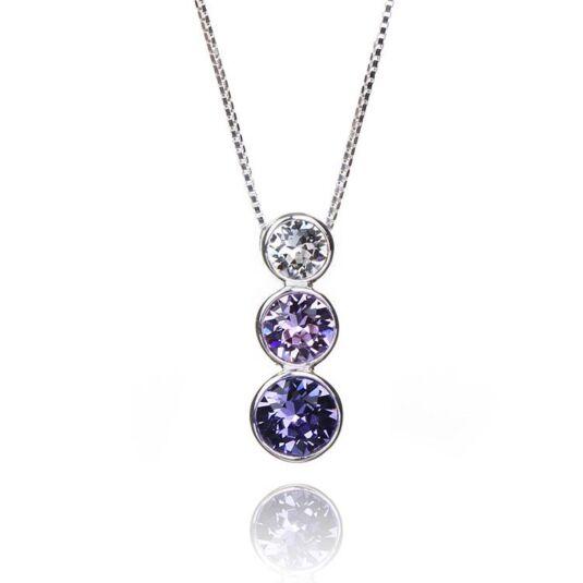 Violet Tanzanite Triple Swarovski Crystal Boxed Silver Pendant