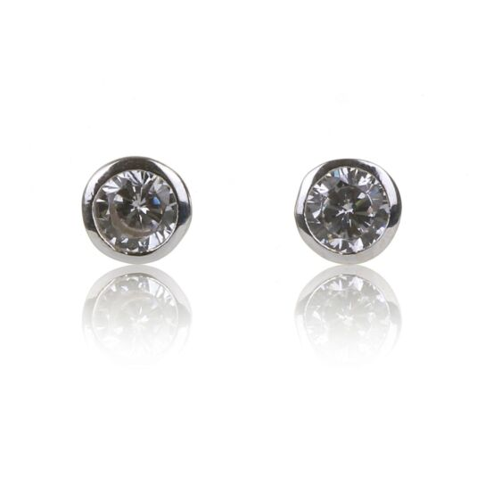 Clear CZ Round Star Stud Earrings
