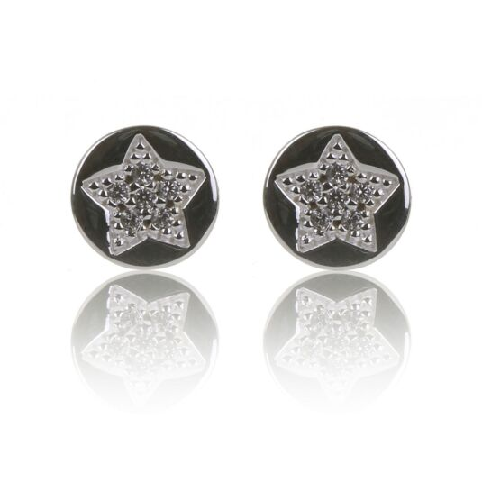 Clear CZ Pave Round Star Stud Earrings