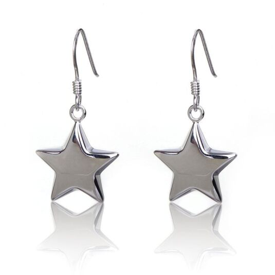 Small Puffed Star Boxed Silver Drop Earrings