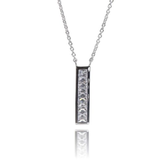 Clear CZ Channel Set Bar Necklace
