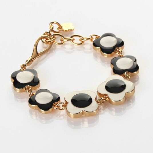 Cream and Black Gold-Plated Flower Spot Bracelet