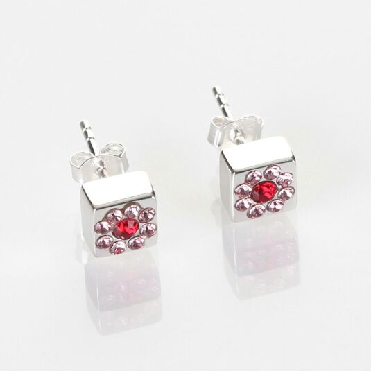Silver Swarovski Flower Cube Stud Earrings