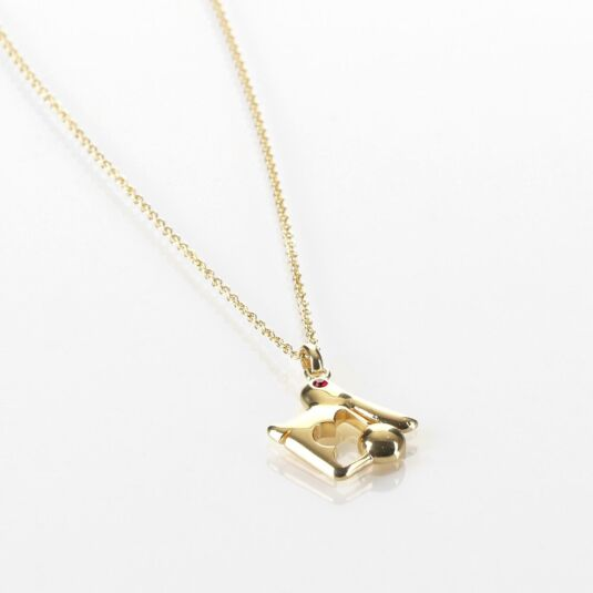 Gold-Plated Swarovski Crystal Rabbit Necklace