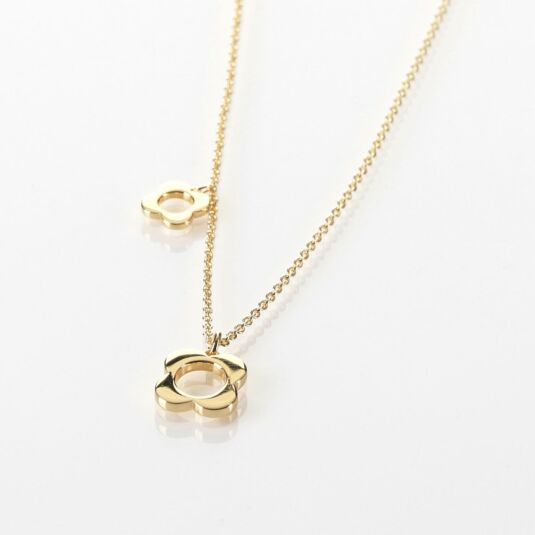 Yellow Gold-Plated Four Point Flower Necklace