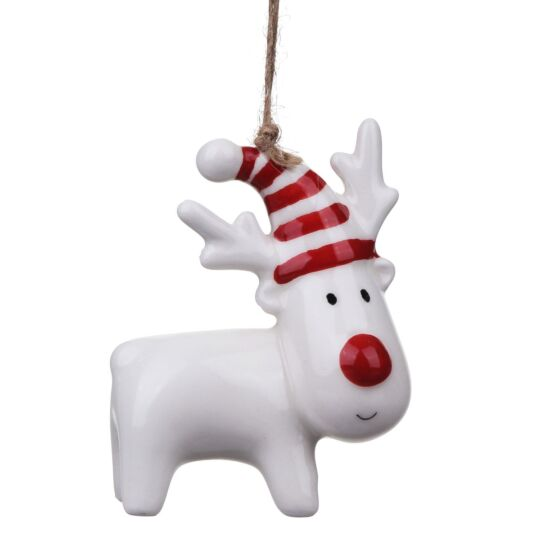 Ceramic Reindeer with Hat Christmas Tree Decoration