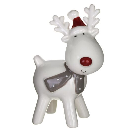 Large Ceramic Reindeer Christmas Ornament