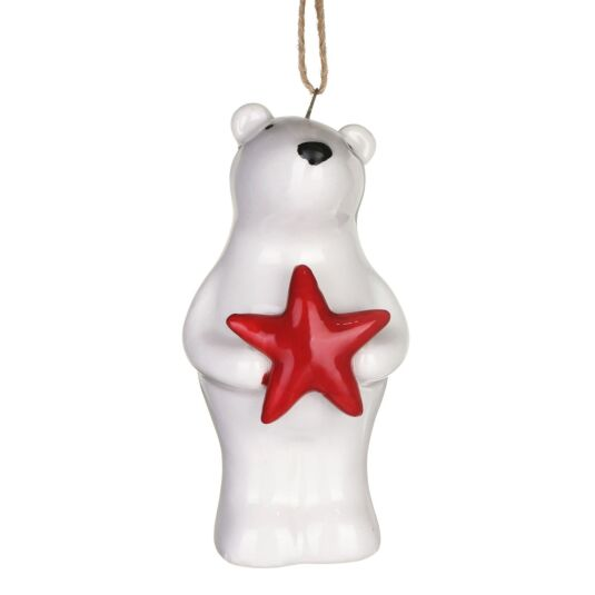 Ceramic Polar Bear with Star Christmas Tree Decoration