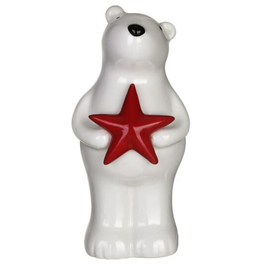 Large Ceramic Polar Bear with Star Christmas Ornament