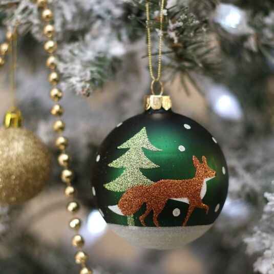 Green Glitter Fox & Tree Glass Bauble