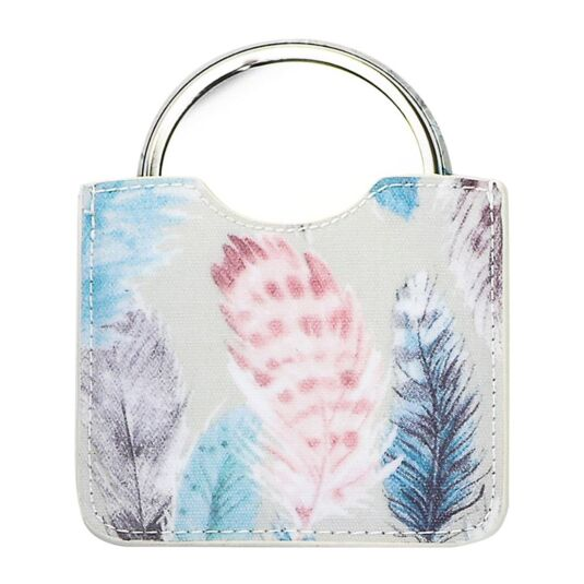 Pastel Feathers Button Mirror in Pouch