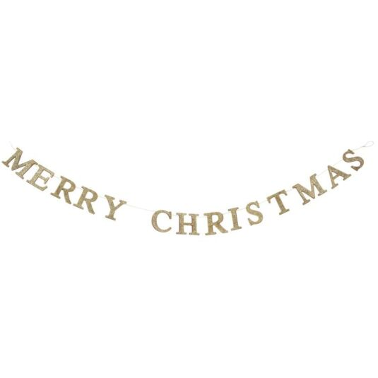 Gold Glitter Wood 'Merry Christmas' Garland