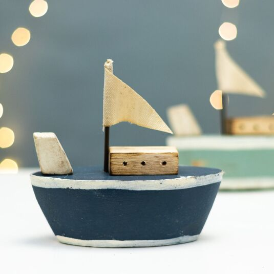 Navy Wooden Tug Boat Ornament