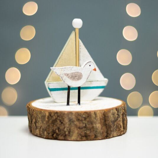 Seagull & Sailing Boat Wooden Ornament