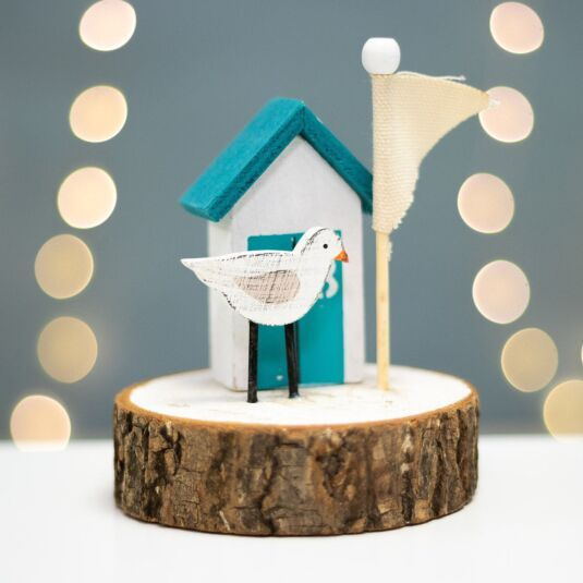 Seagull & Beach Hut Wooden Ornament