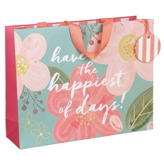 Happiest Of Days Floral Landscape Large Gift Bag