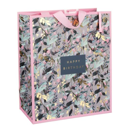 Happy Birthday Pink Vines Large Gift Bag