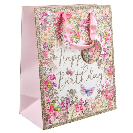 Pizazz Happy Birthday Floral Large Gift Bag