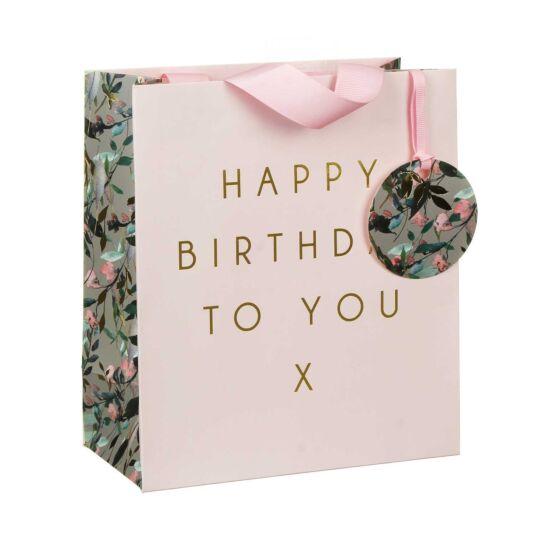 Happy Birthday Pink Vines Medium Gift Bag