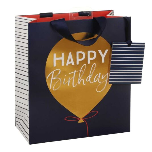 Happy Birthday Golden Balloon Medium Gift Bag