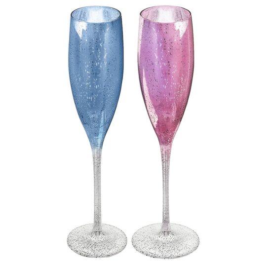 Elegance Glitter Champagne Flutes Set Of 2
