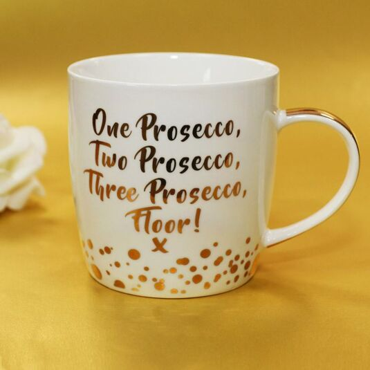 Gold Edition 'One Prosecco Two' Boxed Mug