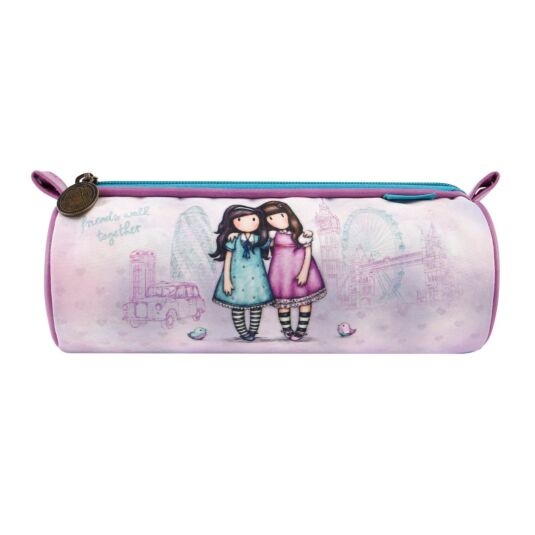 Cityscape Friends Walk Together Round Pencil Case