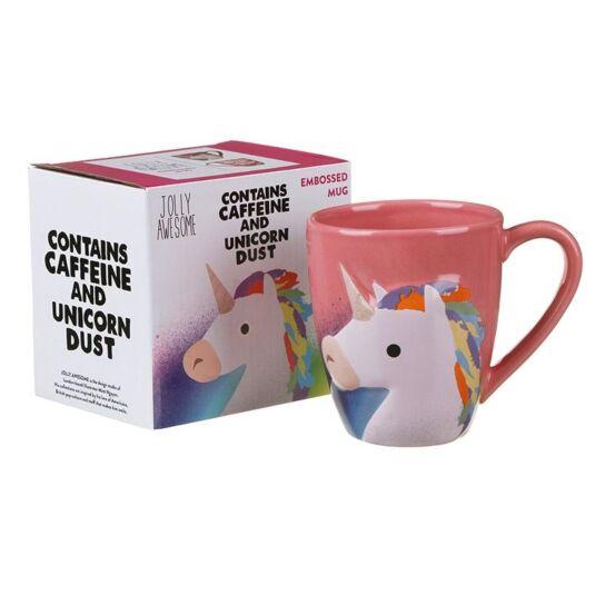 'Coffee and Unicorns' Embossed Mug