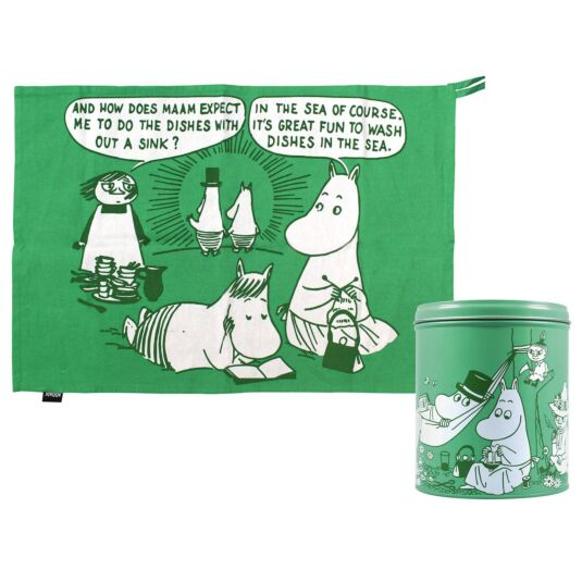 'Dishes In The Sea' Tea Towel in a Tin