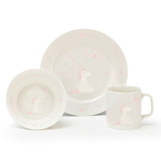 Bashful Unicorn Bowl. Cup & Plate