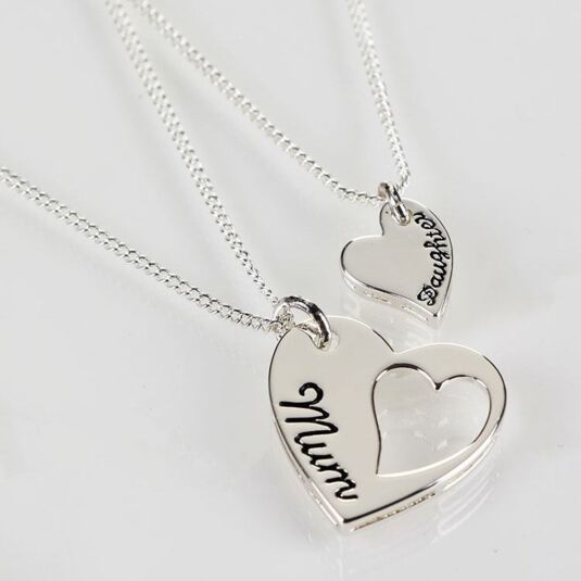Silver Plated Mum and Daughter Necklace Duo