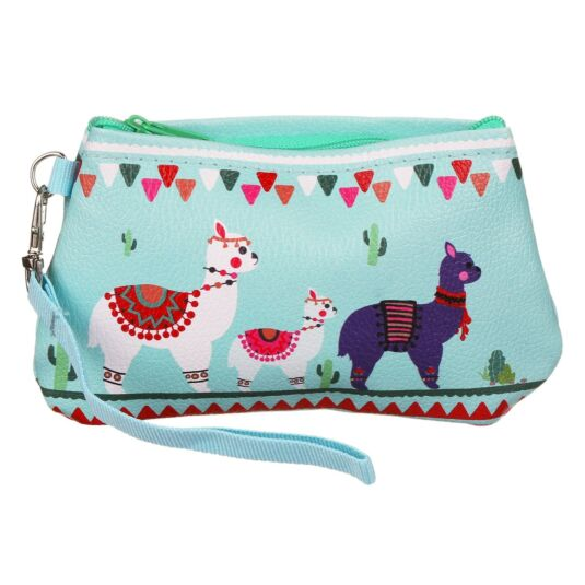 Drama Llama Turquoise Wristlet Make Up Bag