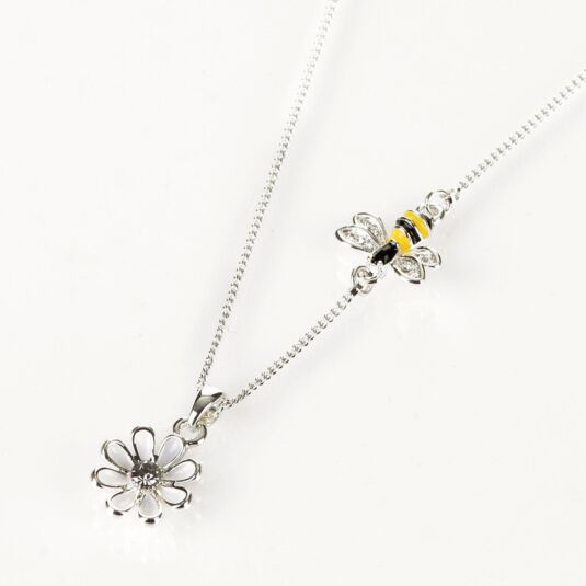 Silver Plated Bee and White Flower Necklace