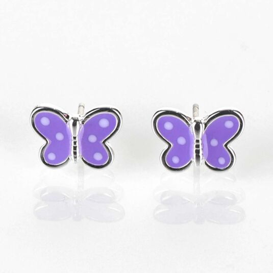 Girls Purple Butterfly Silver Plated Earrings