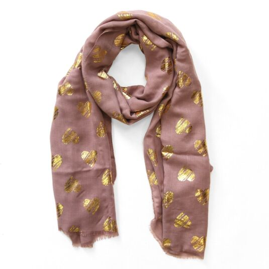 Mauve Scarf with Gold Metallic Hearts