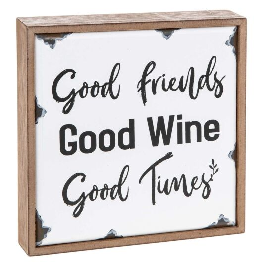 'Good Wine' Old Enamel Plaque