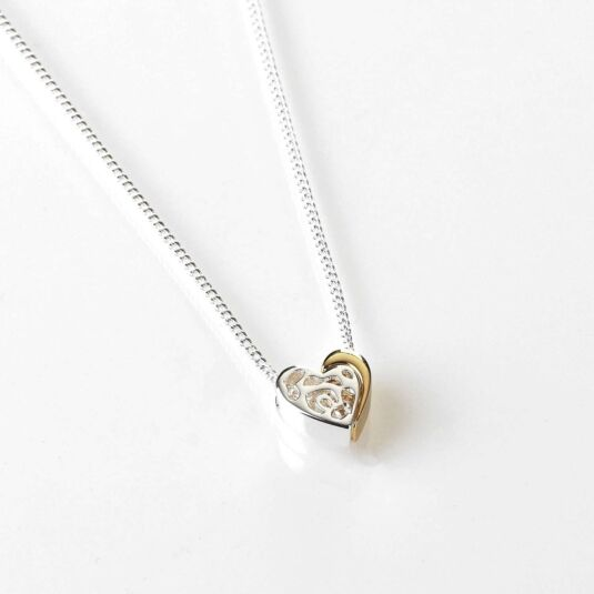 Two Piece Heart Silver and Gold Plated Necklace