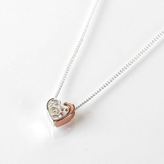 Two Piece Heart Silver and Rose Gold Plated Necklace