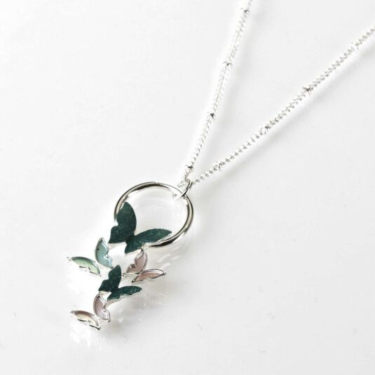 Sage Tones Butterfly Cluster Silver Plated Necklace