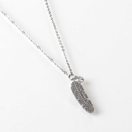 Crystal Feather White Gold Plated Necklace