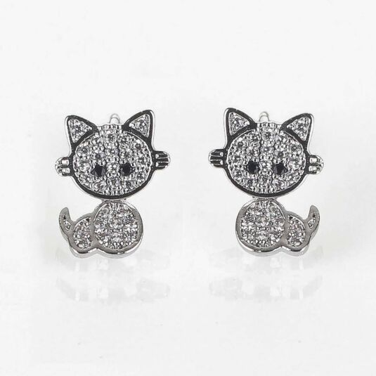 Girls Moving Kitten Silver Plated Earrings