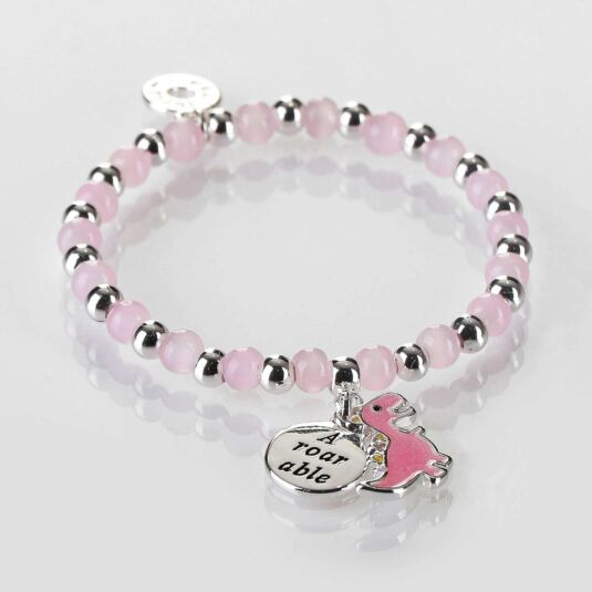 Girls Pink Dinosaur Silver Plated Beaded Bracelet