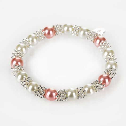Silver Plated Pink Pearl Lace Bracelet