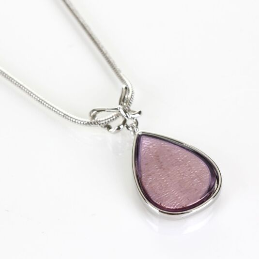 Purple Etched Butterfly Teardrop Boxed Necklace