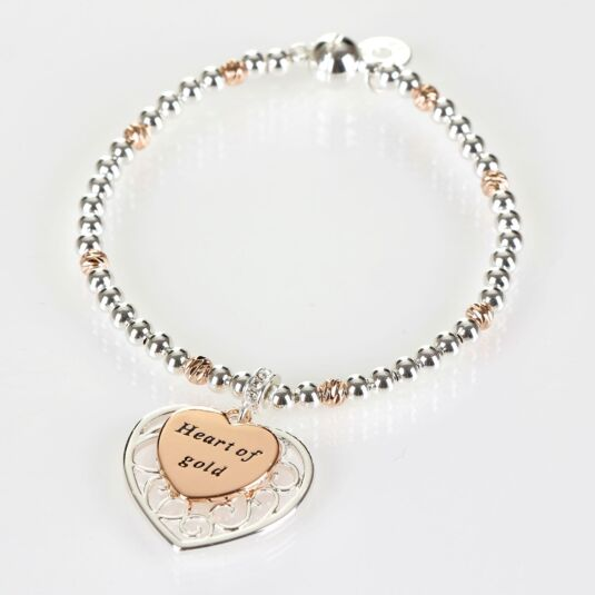 Two Tone Filigree Silver and Rose Gold Plated Heart Boxed Bracelet