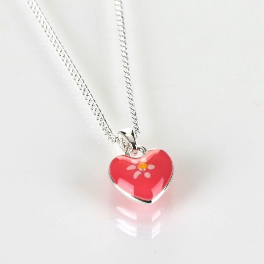 Girls Pink Silver Plated Heart Necklace