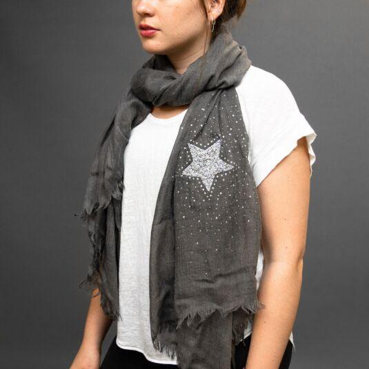 Grey Scarf with Silver Gem Star