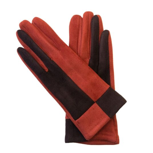 Orange & Brown Suede Effect Boxed Gloves