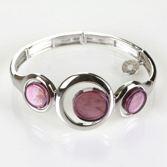 Modern Etched Purple Circles Boxed Bracelet